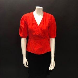 NWT Zara 100% linen wrap blouse M